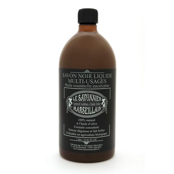 savon noir liquide 1 litre l 39 eucalyptus le savonnier marseillais. Black Bedroom Furniture Sets. Home Design Ideas